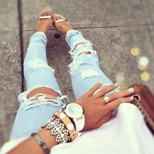 MACHINE JEANS DESTROYED RIPPED DISTRESSED WOMEN SKINNY SLIM LIGHT BLUE Molly