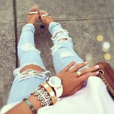 JEANS cutout DESTROYED RIPPED DISTRESSED WOMEN SKINNY SLIM LIGHT BLUE Molly