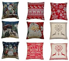 Tapestry Christmas Cushion Covers Festive Cotton Blend Xmas Santa Snowman Deer