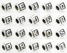 Sterling Silver Initial Capital Letter A to Z Bead Charm European Bracelet