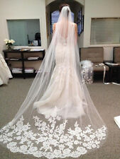 New White Ivory Beautiful Cathedral Length Lace Edge Wedding Bridal Veil + Comb