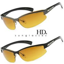 SPORT WRAP HD NIGHT DRIVING VISION SUNGLASSES YELLOW HIGH DEFINITION BROWN