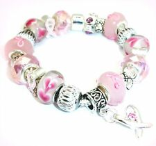 Support Breast Cancer Awareness Pink Ribbon Charm Bracelet Murano Beads Gift Bag