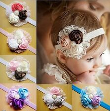 New 12Color Kids Girl Rose Flowers Headbands Toddler Elastic Lace Hair Bow C16