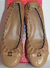$235 NWB Tory Burch ROMY Ballet Flats Sand Mestico Patent Calf Leather Beige
