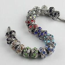 Wholesale Crystal Alloy European Spacer Beads Silver Tone Fit Charm Bracelet