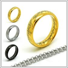 Size 5 -13 Tungsten Carbide Ring The One Lord Ring + Chain 3 colors