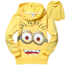 2-8Years Kid Despicable Me Minions 100% Cotton Hoodie Dressy Sweatshirts Jumper