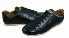 Bally Mens Ulmo Navy Blue Leather Lace-Up Low Top Casual Sneakers Shoes Kicks