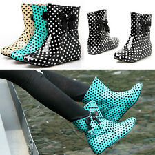 Women's Polka Dot Ankle Boots Hidden Wedge Bowknot Patent Leather Rain Boots LCJ