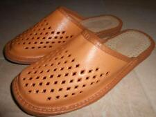 Mens Real Genuine Sheep Leather Slippers Shoes Sandal Handmade From Poland Tan