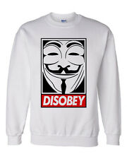 Men's Disobey Sweatshirt Anonymous Obey Banksy Graffiti Urban Hype Swag Trill