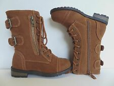 New Girl's Tan Military Lace Up Casual Mid-Calf Riding Boots Youth Sizes 9-4US