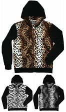 Men's Leopard / Black Hoodie brown sweatshirt jacket zipper plus S M L XL 2XL 3X