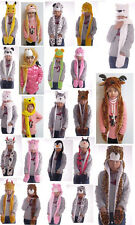 Lovely Plush Soft Cartoon Animal Design Earmuff Scarf Gloves Hat For Adult/Child