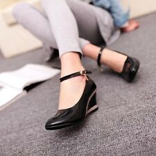 Plus Size Womens Patent Leather Ankle Strap Wedge Heel Pumps Mary Janes Shoes