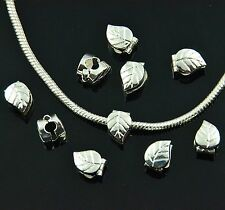 5x, 10x, 20x Leaves Clip Stopper Silver Charm Beads Fit European Chain Bracelet