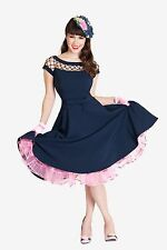 TATYANA 50-60's Bettie Page ALIKA Holiday Blue Swing Dress Net Neckline XS-4X