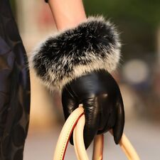 Ladies Womens Genuine Nappa Leather Rabbit Fur Cuff Lined Gloves On Sale #033