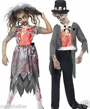 KIDS ZOMBIE BRIDE AND GROOM WEDDING FANCY DRESS COSTUME HALLOWEEN NEW BOYS GIRLS