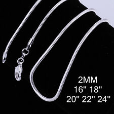 Wholesale Fashion jewelry 2mm snake Chain sterling silver Necklace 16-24 inch