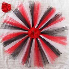 Christmas Knotted Tutu & Crochet-Stretchable Tube Top w/ Head band for 0-2t,2-4t