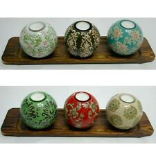 The Pair of 4Pcs Tealight Candle Holders Ceramic Ball Wood Tray A B Type For You