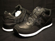 New Balance ML574K Stealth Black Textured Leather Men's Classic Sneaker Limited