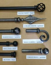 Wrought Iron Curtain Poles, Heavy Duty, 27mm diameter