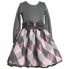 Bonnie Jean Girls Christmas Tafetta Shimmer Plaid Dress Holiday Party Siz 4 5 6