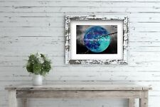 And the Sky Weeps - Blue Moon Original Handmade Matted Picture Art Print A651