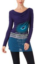 Beautiful Desigual Allie Long Sleeve Boat Neck Blue T-Shirt