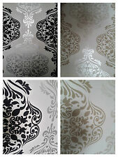 Luxury Quality Wallpaper BLack Silver & Cream/Beige Damask feature wall Designer