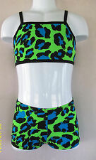 CHILD/TODDLER 2 PC OUTFIT Booty Shorts&Top, LEOPARD PRINTS,12 colors, gym,dance
