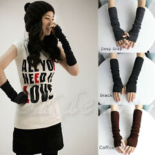 Winter Fall Long Soft Knit Arm Leg Women Fingerless Gloves Winter Mitten Warmer