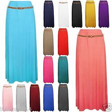 NEW WOMENS LADIES GYPSY LONG JERSEY BELTED MAXI DRESS SKIRT DRESS SIZES 8-14