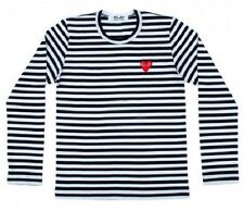 "COMME Des GARCONS CDG (7UK) ""PLAY RED HEART"" MEN'S LONG SLEEVE WHITE T-SHIRT"