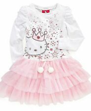 NEW Sanrio Hello Kitty Girls Pink Long Sleeve Tutu Dress Size 3T / 4 / 5-NWT