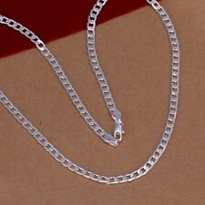 New Women Men 925 Sterling Silver Plated 4MM Cute Pendant Necklace Chain Jewelry