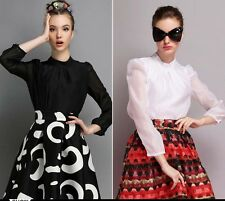 Europe Women Stand Collar Puff Sleeve Solid Chiffon Shirt Casual Blouse Tops
