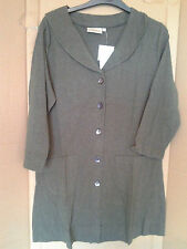 Adini 100% cotton marled jersey coat 3/4 sleeves button through jacket collar
