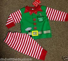 New Christmas Xmas Elf baby dress up 100% cotton pyjamas nightwear sleepwear
