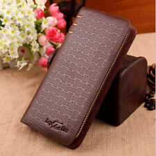 New Mens Leather Wallets Long Card Holder Coin Purse Zipper Clutch Phone Wallets