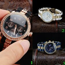 Iron Crystal Analog Women Men Quartz Clock Date Dial Fashion Wrist Watch XMAS
