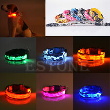 Pets Dog LED Lights Leopard Flash Night Safety Waterproof Collar Adjustable S-XL