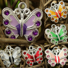 5/20/50Pcs HOT Silver Plated Enamel Rhinestone Crystal Butterfly Charms Pendant