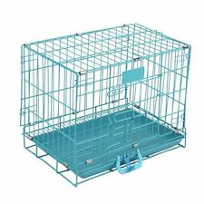 2 Doors Blue Pet Folding Suitcase Dog Cat Crate Cage Kennel Metal Pen ABS Tray