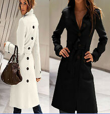 2014 New Hot  Womens long Coat  fashion wool Blend Slim Trench Jacket Outwear
