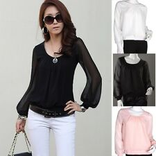 Voguish Lady Chiffon Lantern Royal Autumn Sleeve Shirt Tops Blouses White Recent