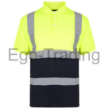 Mens Ladies Hi Vis Safety Reflective High Viz Yellow Work Polo T-Shirt. RRP £15!